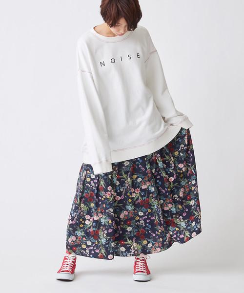 【予約】ボタニカル花柄スカート(ダークネイビー)