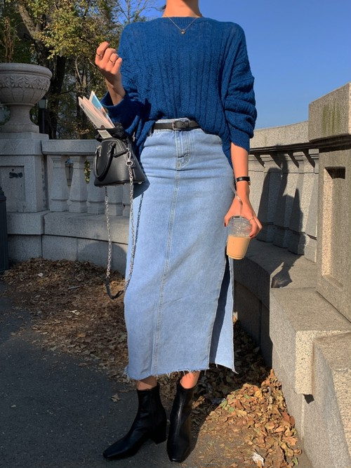 ロングスリットデニムスカート デニムスカート ロングスカート 韓国ファッション