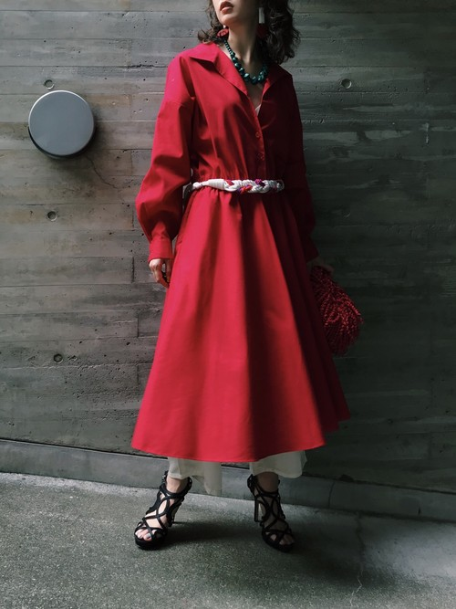 80s red simple cotton × poly  dress ( ヴィンテージ レッド シンプル コットン ワンピース )