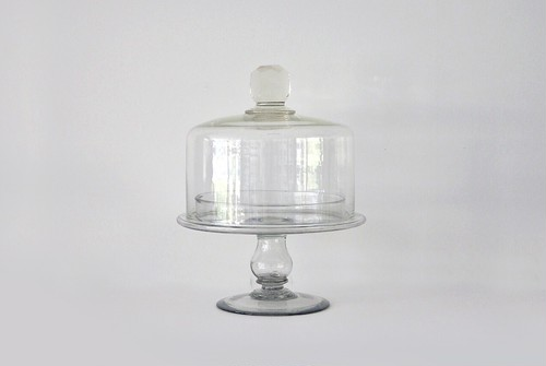 antique glass cake stand with dome dead stock / 古いガラス ケーキスタンド デッドストック