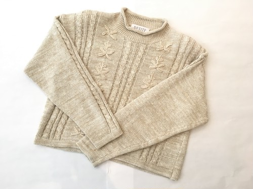 drop-shoulder short knit sweater