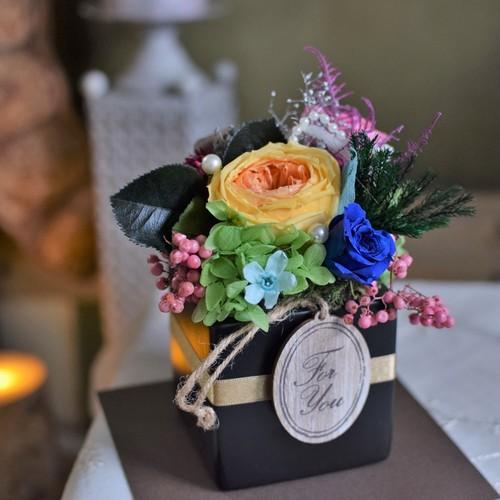 【プリザーブドフラワー】カタチに残るプレゼントとして人気のアレンジメント:ブルーオレンジ中心に|男性・父の日におすすめ