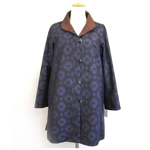 藍大島 フレアージャケット【ミセス・モトコ】