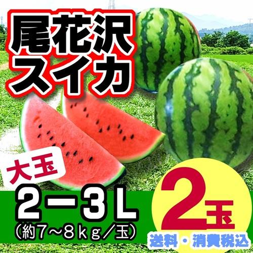 尾花沢スイカ(大玉 7-8kg玉×2玉入り)