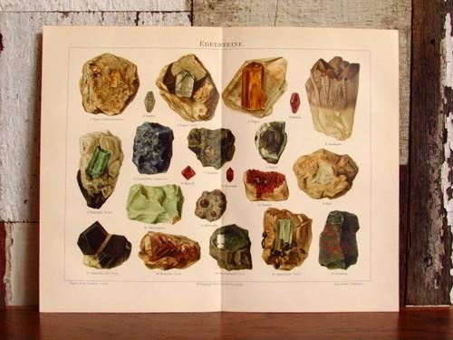 19世紀 原石(宝石)のリトグラフ/博物画 1898年 (ドイツ・アンティーク印刷物)
