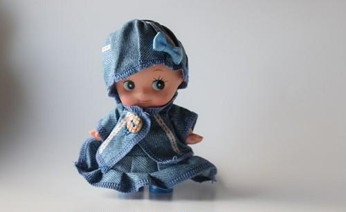 デニムドレスの15cmキューピー人形服セット