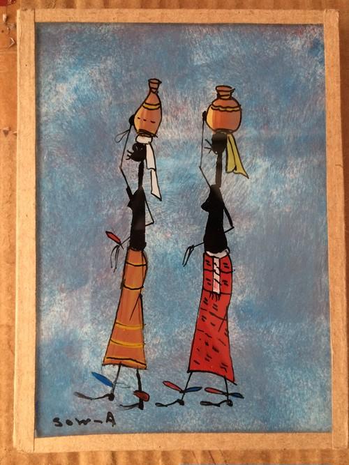 アフリカのガラス絵「物を運ぶ女性」by Sow.A