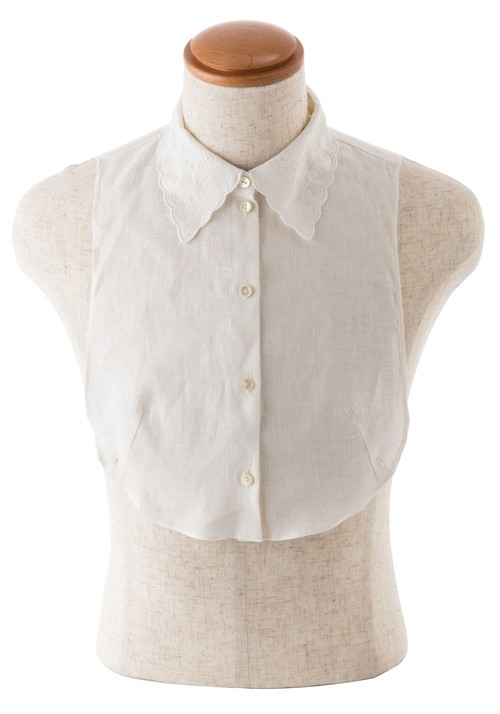IS-001 WH スワトウ調刺繍身頃付き襟(ホワイト)