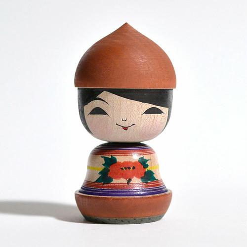 マロンこけしちゃん 約2.5寸 約7.5cm 阿保正文 工人(津軽系)#0117