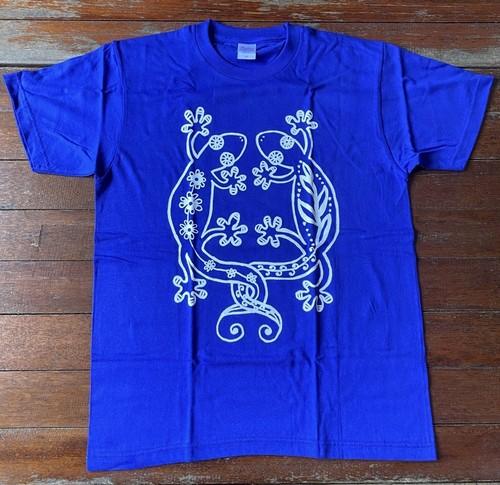 Tシャツ☆コットン素材☆ジャパンブルー☆やもり