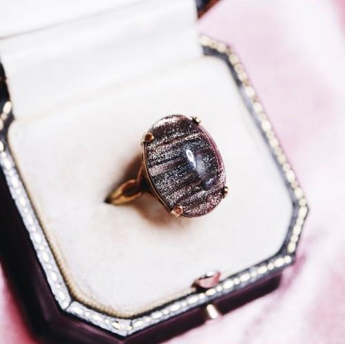シャイニーストライプ ヴィンテージガラス リング(指輪)
