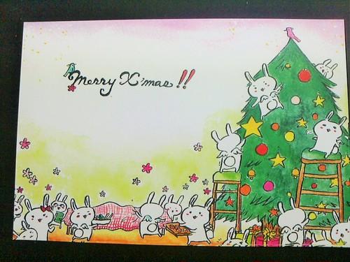 うさぎのクリスマスカード(3枚入)