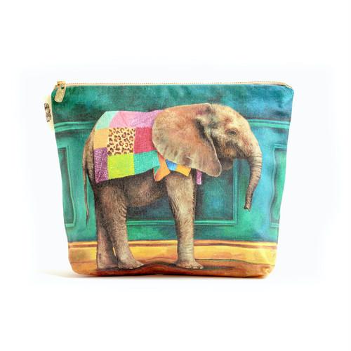 アフリカブランド化粧ポーチL・iPadタブレットケース「赤ちゃんゾウ 像」洗濯可*エコ*ソーシャルグッド