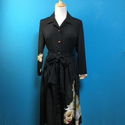 Vintage black kimono shirt dress/ US 8