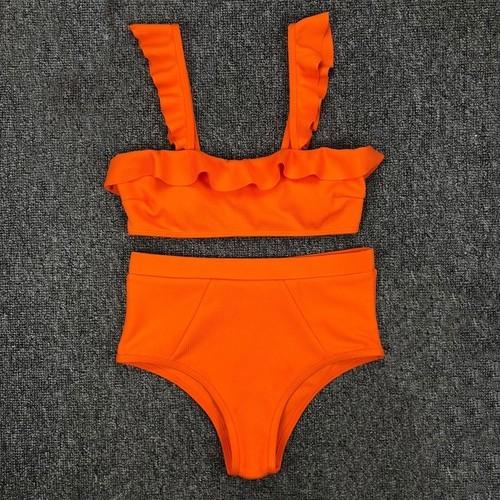Bikini♡フリルハイウエストリブビキニ オレンジ