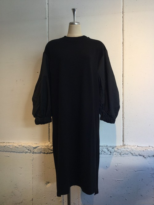 MUVEIL WORK   布帛袖ワンピース (black)
