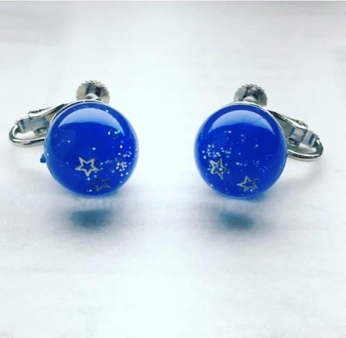ミルキーウェイ 夜空 星 ラメ 星 シルバーカラー イヤリング レジン キラキラ プレゼント 誕生日 お祝い