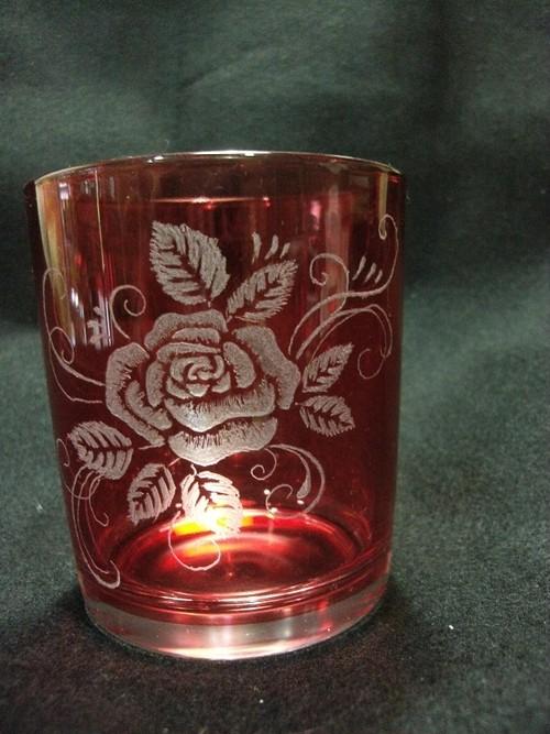 タンブラーグラス 色つき グラスリッツェン バラ