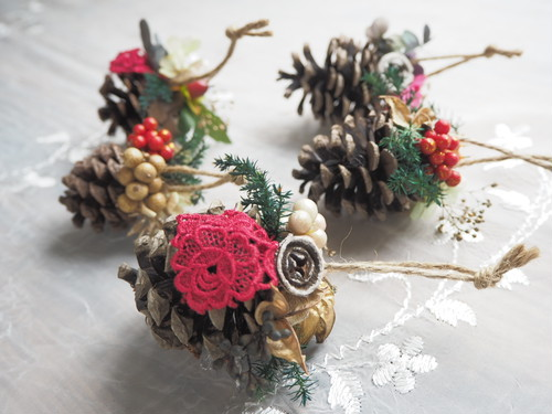 クリスマスオーナメント5個セット <dentelle rouge >* クリスマスツリー・ガーランド・プリザーブドフラワー