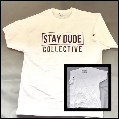 STAY DUDE COLLECTIVE / logo T-shirt (WHITE/ BLACK)