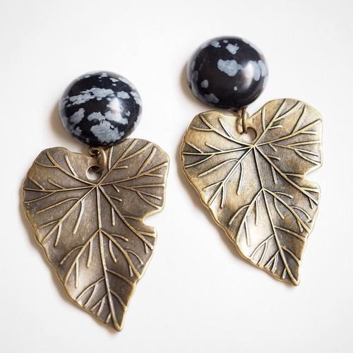 天然石×真鍮チャーム ピアス・イヤリング