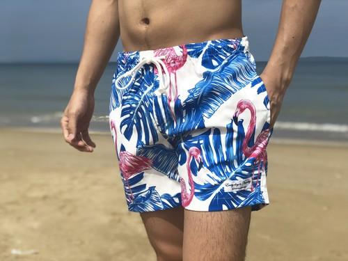 【SUMMER SALE】ThreeArrows Print Board Shorts(flamingo white)