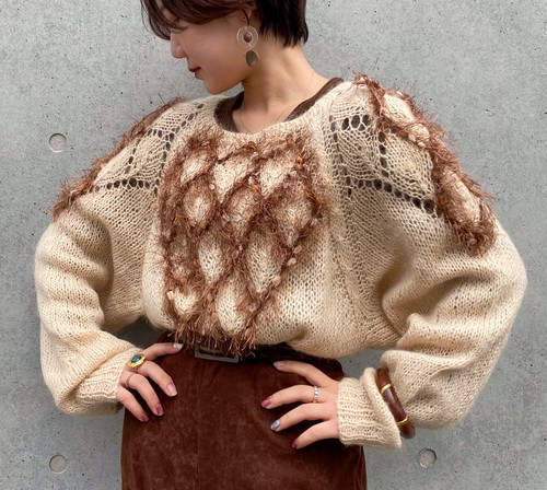 (PAL) square neck knit sweater
