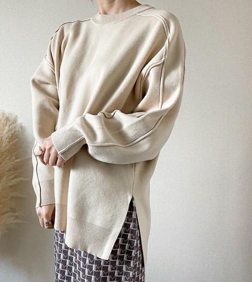 【light beige】 mocciri line pullover