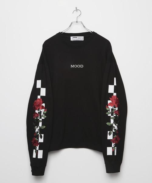 F/20 MOOD Rose Embroidery Long sleeve T-shirt [Black]