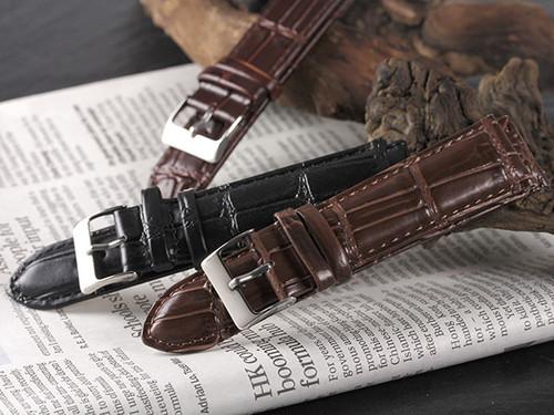 本革 カーフ型押しクロコ メンズ 腕時計 替えベルト RBCRSY35-20-DBR ダークブラウン ダークブラウン
