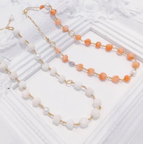 【CORALIA】コラーロ ネックレス 白珊瑚 ピンク珊瑚 アコヤパール