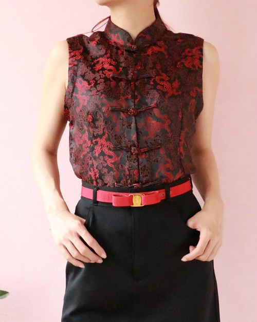 black + red china tops