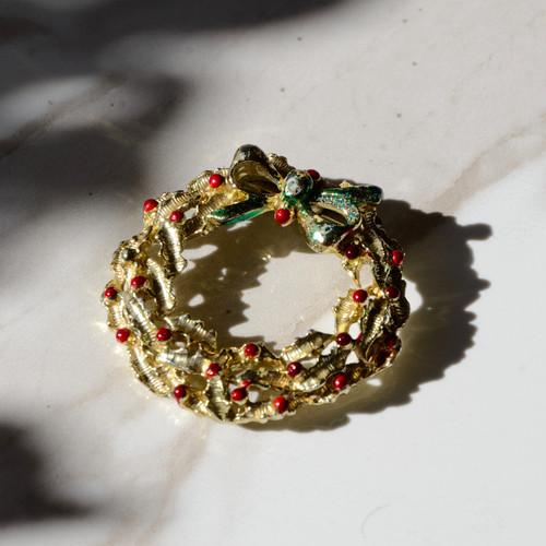 クリスマスリースのヴィンテージブローチ