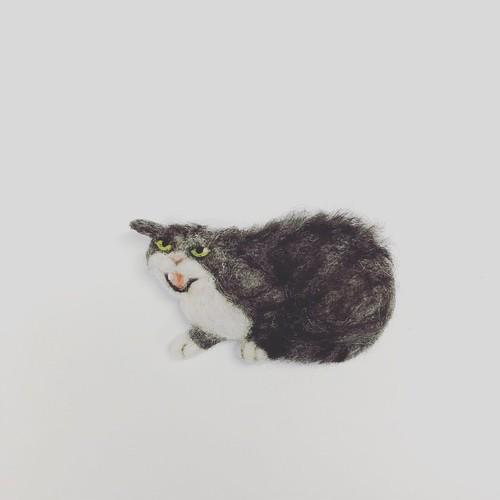 威嚇猫ブローチ