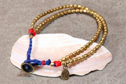 Slow Hands スロウハンズ  H BR-25  Double beads brass bracelet