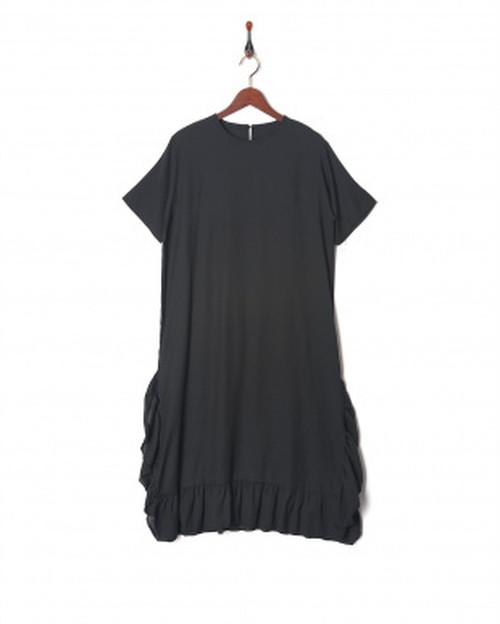 DRESドレス  フリルトリムロングワンピース/ブラック