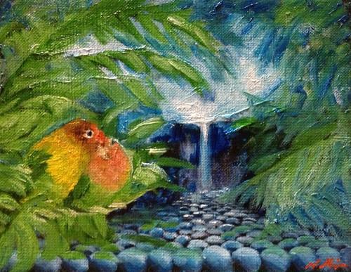 『ふたりの楽園』油絵