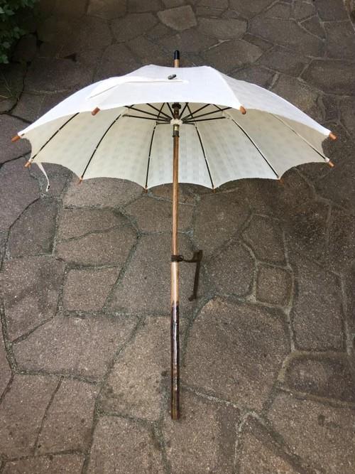 桜長柄紬地絽紋織り日傘
