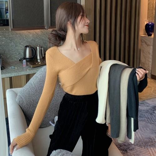 【トップス】新作ファッションデザイン不規則ネック簡約プルオーバーニットセーター