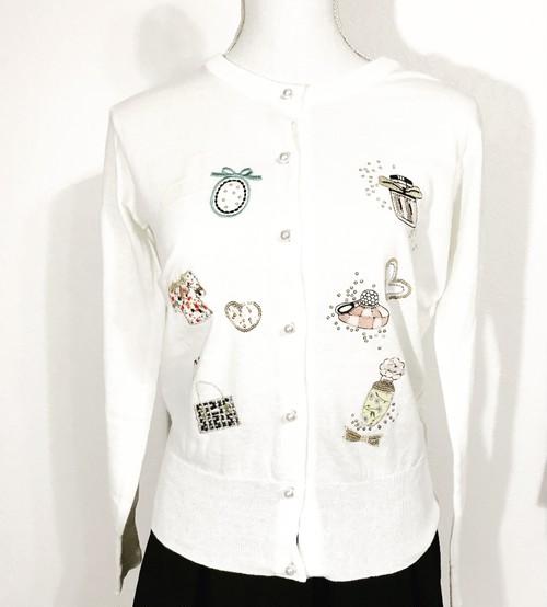 パフュームバッグハート刺繍カーディガン ホワイト