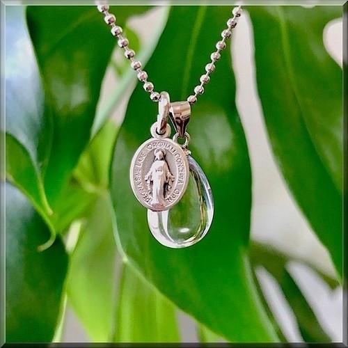 天然石*レムリアン水晶と不思議のメダイのネックレス*ティアドロップB