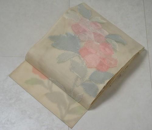 【夏帯】 紗 袋帯 牡丹 正絹 淡黄蘗色 149
