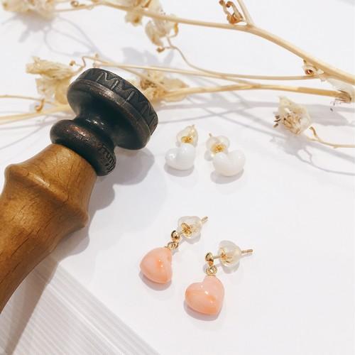 【CORALIA】ハート ピアス 直結 白珊瑚 ピンク珊瑚 K18