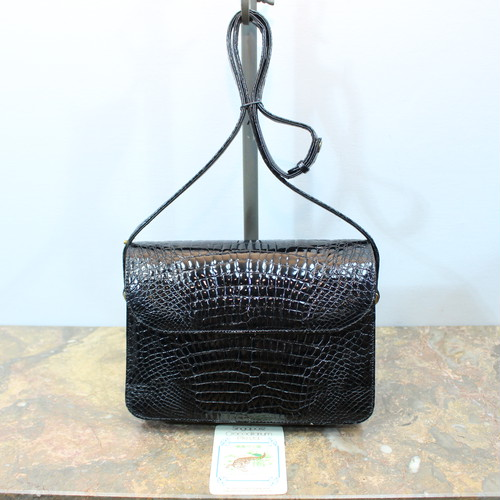 .CROCODILE LEATHER SHOULDER BAG MADE IN SINGAPORE/クロコダイルレザーショルダーバッグ 2000000032955