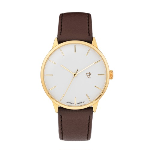 KHORSHID GOLD【CHPO】 White dial. Brown vegan leather strap
