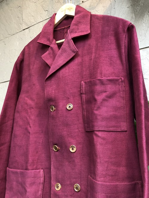 Double breasted jacket using vintage burgundy cotton fabric