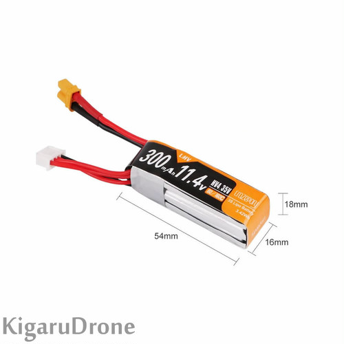 【3S HV】タイプB Crazepony 3s 300mAh 11.4v HV 80/160C LiPo Battery with XT30コネクター