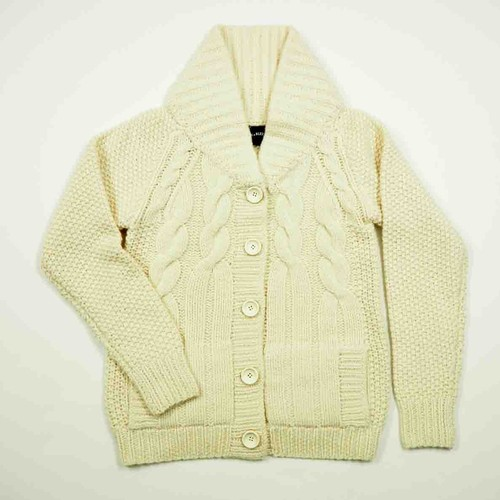 HAND KNITTED COWICHAN SWEATER (White) DBW0016
