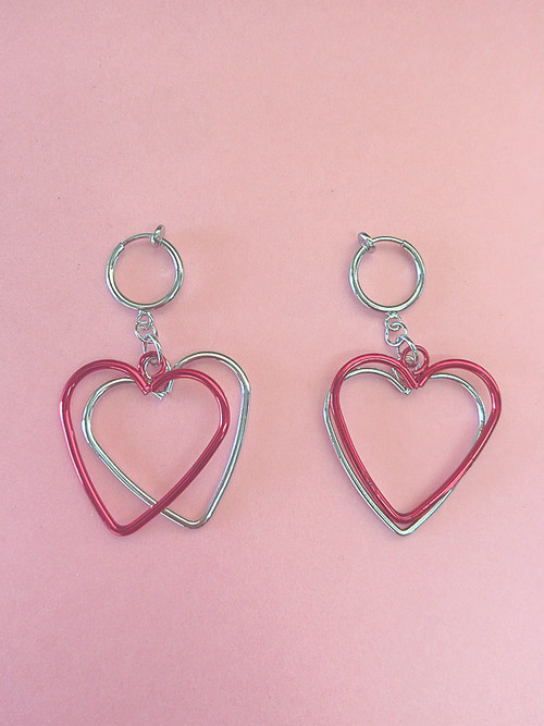 ◎SK brothers◎新作メタリックハートearring レッド
