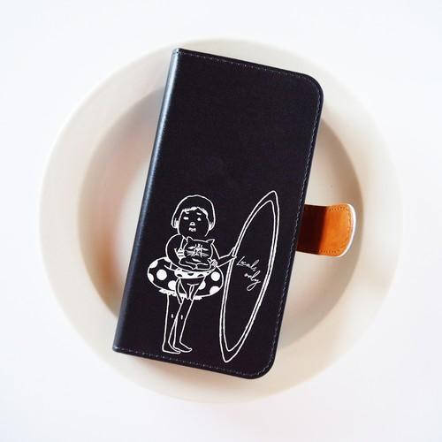 BEACH 手帳型スマホケース ブラック